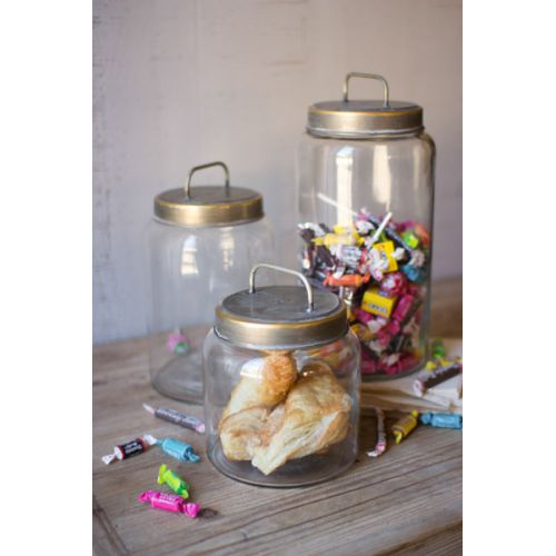 Glass Jars With Metal Lids Set of 3