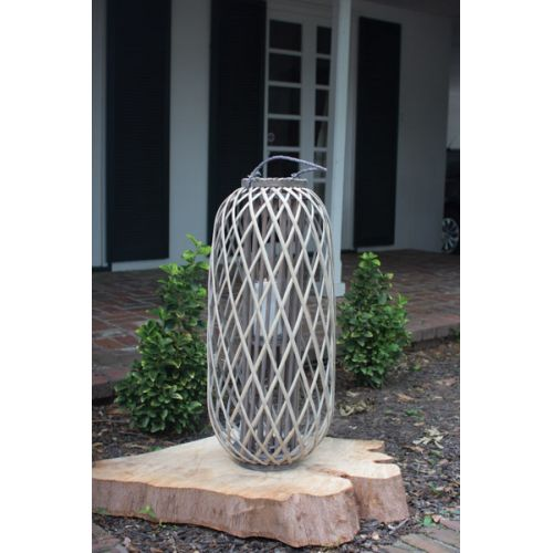 Tall Grey Willowith Lantern With Glass - Large