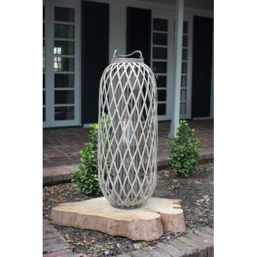 Tall Grey Willowith Lantern With Glass - Small