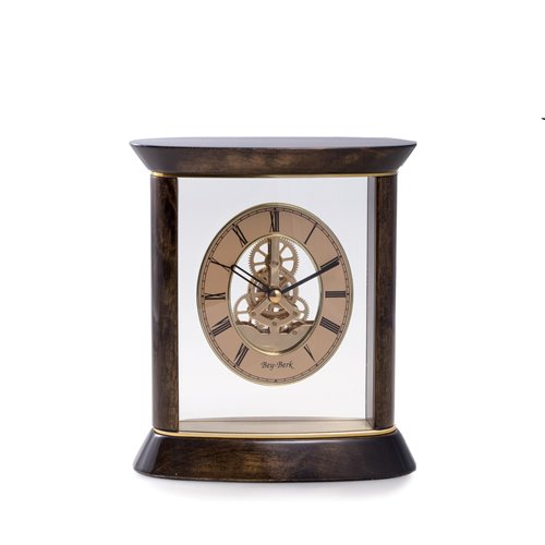 Miami Lacquered Walnut Wood and Gold Accents Quartz Clock with Skelton Movement