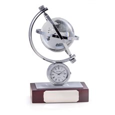 Austin Globe Gyro Quartz Clock with Chrome Accents on Mahogany Base