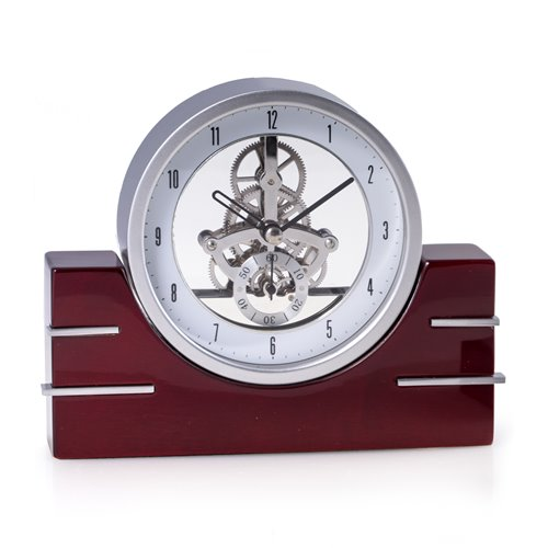 Rio de Janeiro Lacquered Mahogany Wood Skelton Movement Quartz Clock with Stainless Steel Accents