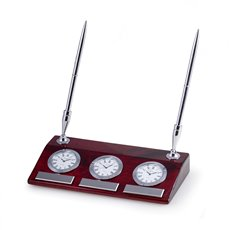 Tokyo Lacquered Rosewood 3 Time Zone Desk Clock with Chrome Accents and 2 Pens