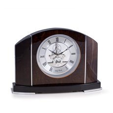 Cairo Lacquered Walnut Wood and Stainless Steel Accents Quartz Clock with Skelton Movement