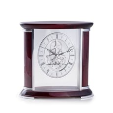 Luxemburg Lacquered Rosewood and Stainless Steel Accents Quartz Clock with Skelton Movement