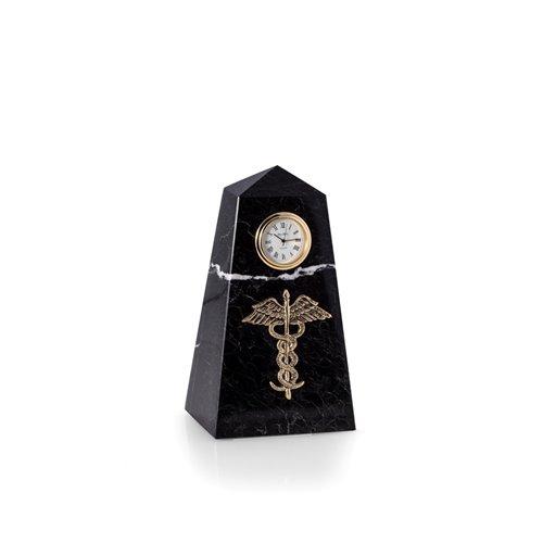 Medical, Black Zebra Marble Quartz Clock with Gold Accents