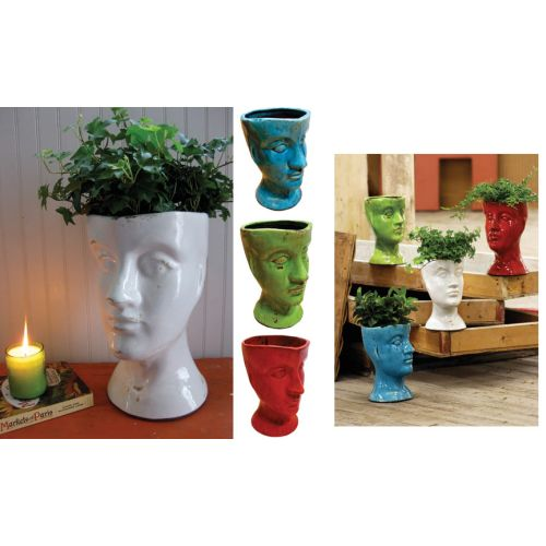 Ceramic Head Planter - White
