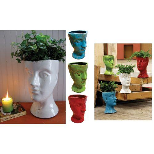 Ceramic Head Planter - Red