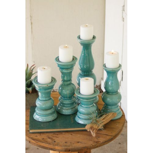 Turquoise Ceramic Candle Holders Set of 5