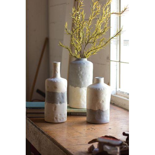 Ceramic Bottle Vases - Matte Grey And Cream Set of 3
