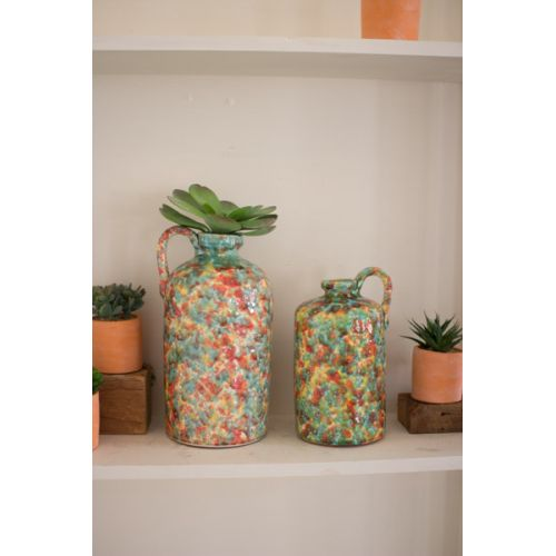 Multi Colored Spatterware Ceramic Bottles with Handle Set of 2