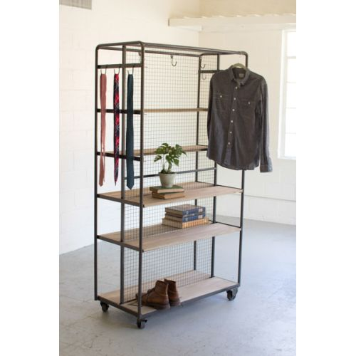 Rawith Metal Rolling Closet On Metal Casters