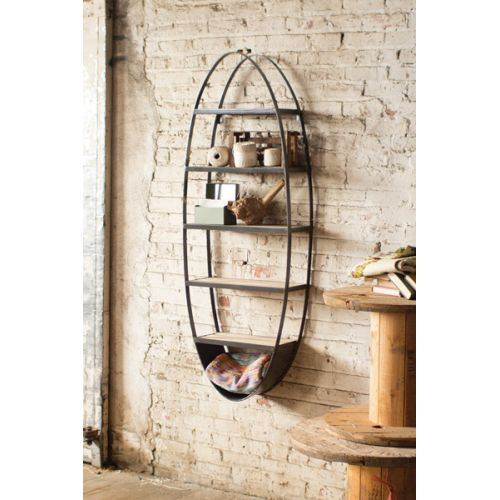 Metal And Wood Oval Wall Shelf