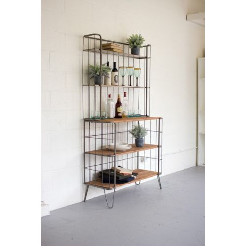 Recycled Honey Wood And Rawith Metal Hutch
