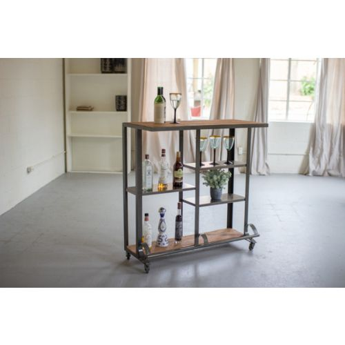 Recycled Honey Wood And Rawith Metal Rolling Bar