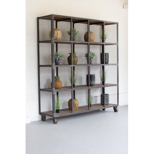 Rawith Metal And Recycled Honey Wood 16 Cube Display Unit
