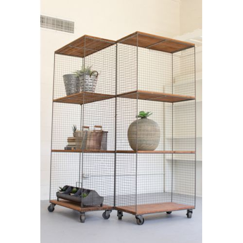 Two Hinged Rawith Metal and Honey Wood Shelving Units On Casters