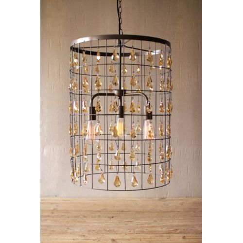 Large Cylinder Pendant Light With Amber Gems