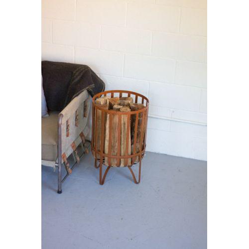 Metal Log Basket - Rustic