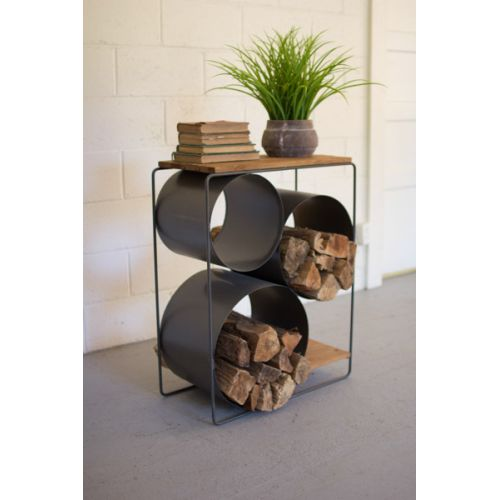 Honey Wood And Rawith Metal Shelf With Round Comparments