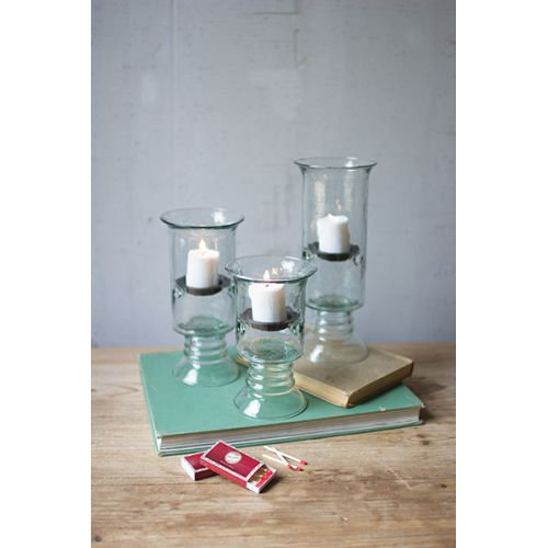 Recycled Glass Votive Cylinders With Glass Base Set of 3