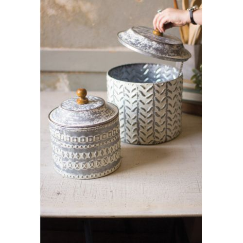 Pressed Tin Canisters Set of Two