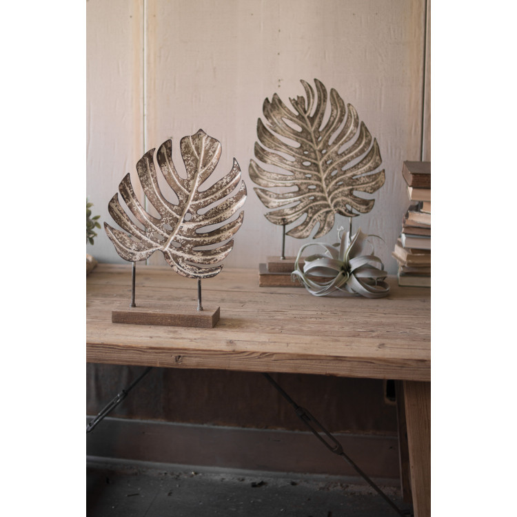 Set Of Two Metal Monstera Leaves On Wooden Bases