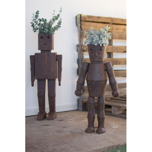 Metal Robot Planters Set of Two