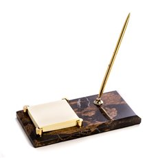 Tiger Eye Marble with Gold Plated Memo Pad Holder and Pen