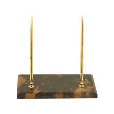 Tiger Eye Marble with Gold Plated Double Pen Stand