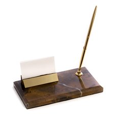Tiger Eye Marble with Gold Plated Business Card Holder and Pen