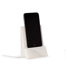 White Marble Desktop Phone / Tablet Cradle with a Pass-thru Hole for Charging Cable