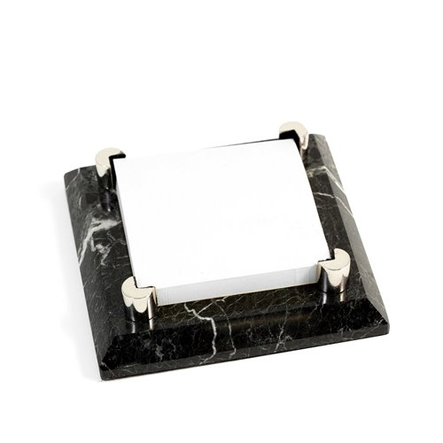 Black Zebra Marble with Chrome Plated Post-It Holder