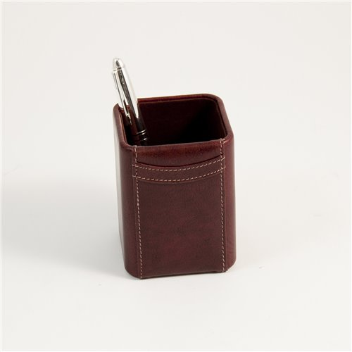 Tan Leather Pen Cup