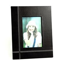 Black Leather 4x6 Picture Frame with Easel Back