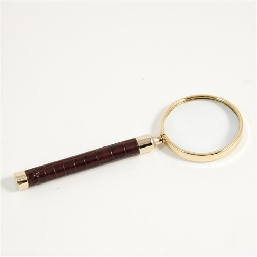 Brown Croco Leather Magnifier with Gold Plated Accents