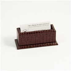 Brown Croco Leather Business Card Holder