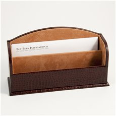 Brown Croco Leather 2 Section Letter Rack