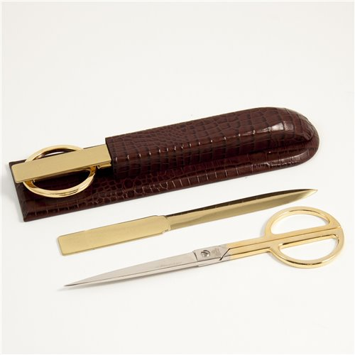 Brown Croco Leather Library Set