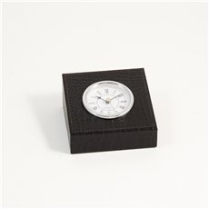 Black Croco Leather Quartz Clock with Silver Plated Accents