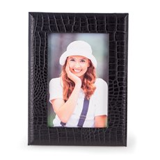 Black Croco Leather 4x6 Picture Frame with Easel Back