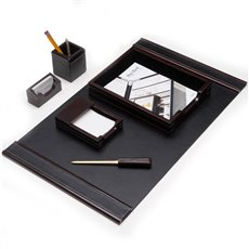 6 Piece Cherry Wood and Black Leather Desk Set