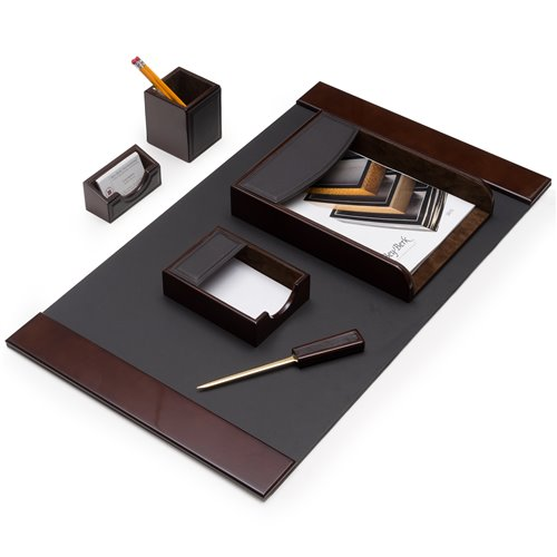 6 Piece Walnut Wood and Brown Leather Desk Set