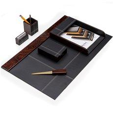 6 Piece Burl Wood and Black Leather Desk Set
