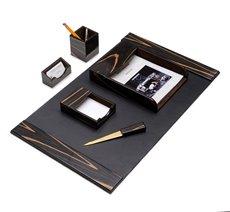 6 Piece Ebony Wood and Black Leather Desk Set