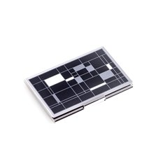 Nickel Plated Business Card Case with Black Cube Design