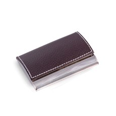Brown Leather Business Card Case with Magnetic Lid