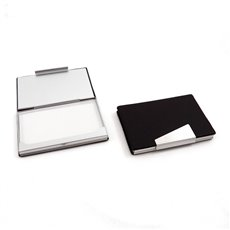 Brown Leatherette Business Card Case with Aluminum Trim