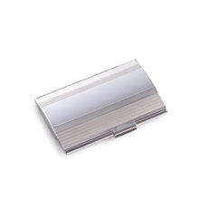 Stainless Steel Business Card Case with Brushed and Shiny Finish