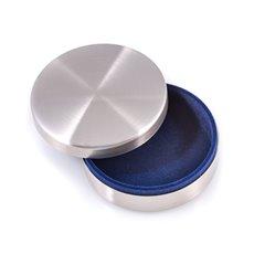 Brushed Stainless Steel Round Keepsake Box with Velvet Lining